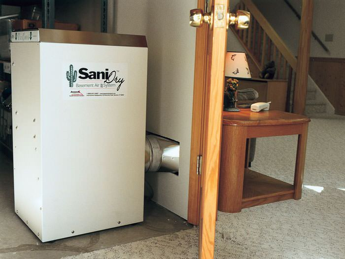 basement dehumidifier installed in a finished basement in molalla